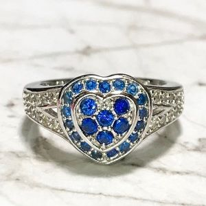 Jewelry - NEW Sterling Silver Heart With Blue Stones Ring